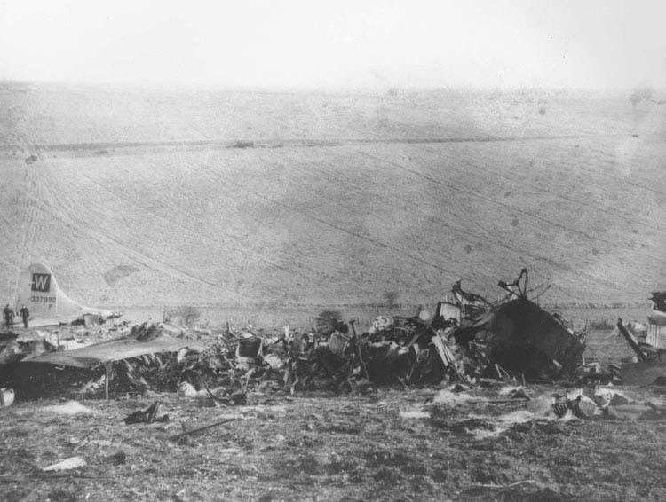 Crash site of Lt Bruce Evans B-17 at Upper Beeding, Sussex