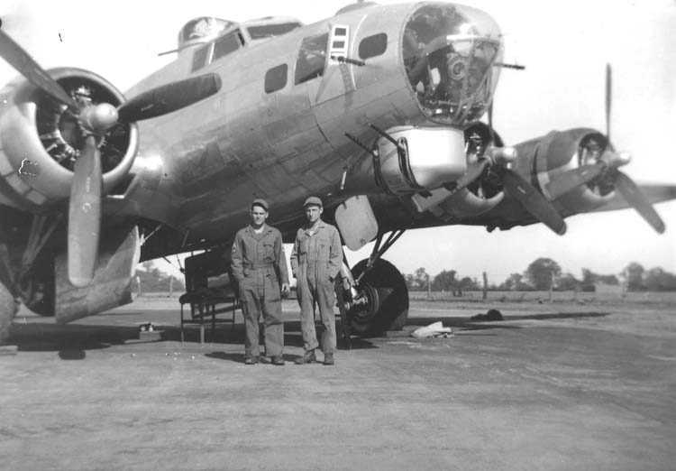 Ground crew in front of a B-17