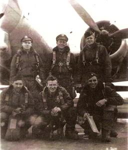 L to R: Front Hank Fulton, engineer; Ed Krawcyk, radio; Jack Crabtree, pilot; Rear Les Pleshke, mickeyman (radar); Harry Barnes, co-pilot; Bob Harper, navigator.