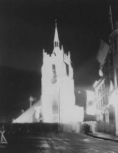 St Peter's Church illuminated on VE night
