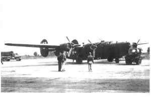 Lt Senseney's B-24 Liberator on hardstand 38 in which his crew flew 19 combat missions before converting to the B-17