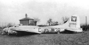 The B-17 with the railway cottage (still there) in the background