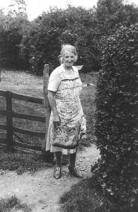 Mrs Kay in her garden January 1945